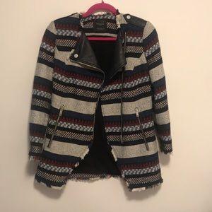 Zara zip up tweed jacket sz xs in grey red blue